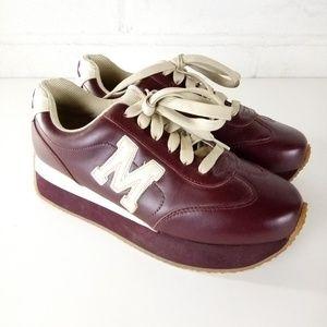 Steve Madden Fashion Platform Sneakers Burgundy